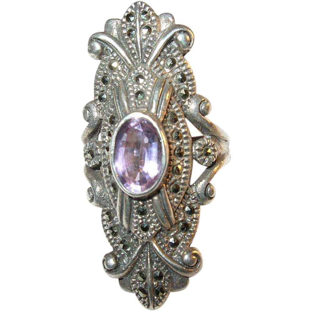 vintage sterling silver amethyst marcasite ring from