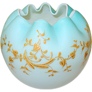 Victorian Rose Bowl Baby Blue Matte Finish Enamel Decoration