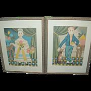 Folk Art Pr Hand Colored Lithos Large