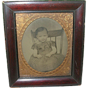 Antique Tin Type Child's Portrait Framed