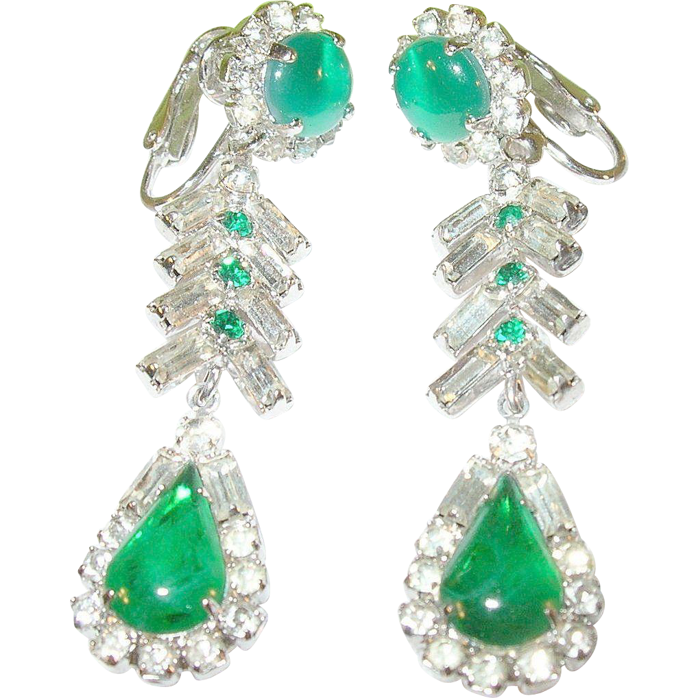 vintage weiss drop earrings faux emeralds faux diamonds. Black Bedroom Furniture Sets. Home Design Ideas