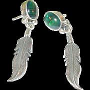 Vintage Sterling Feather Drop Earrings