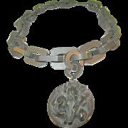 Victorian Gutta Percha Link Necklace Pendant 1870's