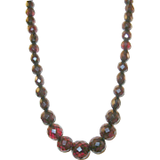 Vintage Cherry Amber Faceted Bead Necklace 23""