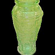 """Vintage Vaseline Glass Large Store Counter Jar Rose Pattern 15 1/4"""" tall"""
