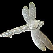 Vintage Sterling & Moonstone Dragonfly Brooch