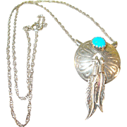 Vintage Sterling Turquoise Necklace & Pendant