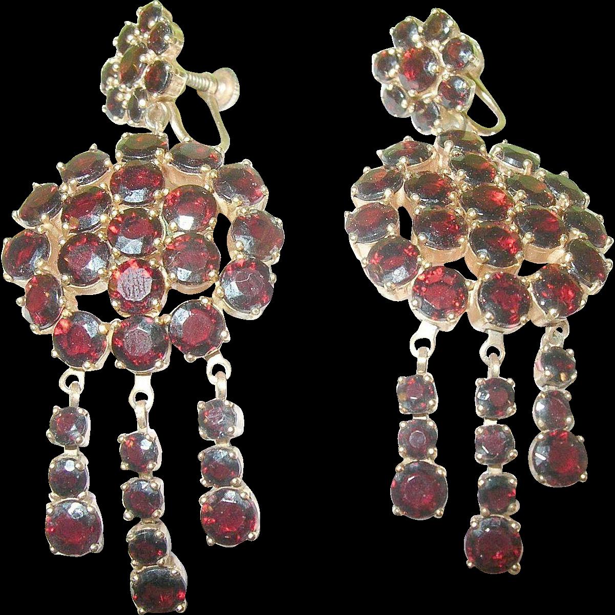 Vintage Faux Garnet Chandelier Earrings From Robbiaantique