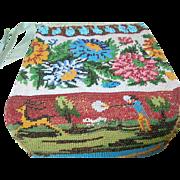 Vintage Micro Mosaic Hand Bag Hunting Scene