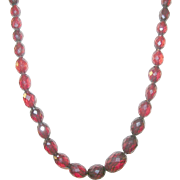 Vintage Cherry Amber Faceted Bead Necklace