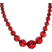 Vintage Faceted Cherry Amber Bead Necklace