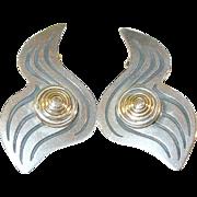 Vintage Sterling & 14K Earrings Modernist Design