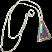 Vintage Sterling Necklace  Pendant Semi Precious Stones D.G
