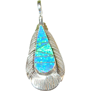 Vintage Sterling Opal Doublet Feather Pendant by N.J.