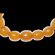 "Vintage Egg Yolk Amber Bead Necklace 35"""
