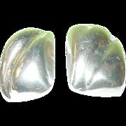 Vintage Sterling Earrings Clip On Modernist Design