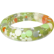 "Vintage MOD Lucite Bangle ""Floating Bubbles"" 1960's"