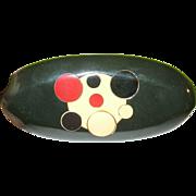 Art Deco Bakelite Brooch Infused Dots