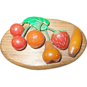 Vintage Bakelite Wood Fruit Brooch