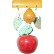 Vintage Bakelite Lucite Fruit Brooch