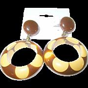 Vintage Bakelite Drop Earrings Random Dot