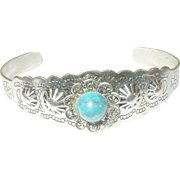 Vintage Silver Plated Faux Turquoise Cuff Bracelet