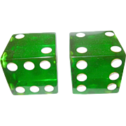 Vintage Bakelite Large Dice Translucent Green