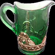 EAPG Green Glass 2922 Pressed Creamer - Gold Trim