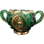 EAPG Green Glass Sugar Bowl trimmed with Gold Gilt