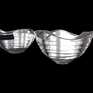 2 Villeroy & Boch 24% Lead Crystal Bowls - Dune Wind Wave