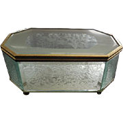 Frosted Etched Beveled Glass Footed Jewelry Casket Trinket Box