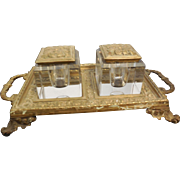 Heavy Brass Desk Tray with 2 Crystal Ink Wells