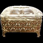 Vintage Ornate Ormolu Jewelry Casket Box