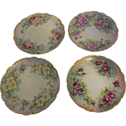 4 Limoges Haviland & Cie Hand Painted Artist Monogrammed Floral Bread & Butter Plates