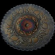 Rare 1910-11 Dugan Carnival Fanciful 9 inch Cobalt Blue Pie Crust Rim Plate