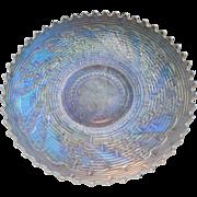 Dugan White Carnival Glass Round Up Bowl  Basketweave Pattern