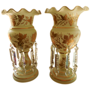 English Frosted Glass Gilt Floral Ruffle  Lusters
