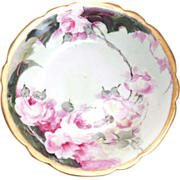 Rare Vintage Gold Footed Limoges Hand Painted Porcelain Dish