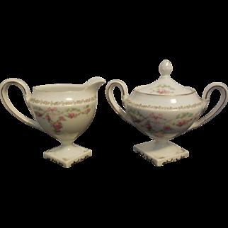 RS Prussia Egg Shell Porcelain Ornate Floral Footed Creamer & Sugar Bowl