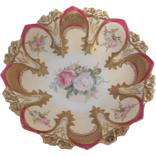 """Antique RS Prussia Deep Fuchsia & Floral Decorated 10.25"""" Bowl Mold 90"""