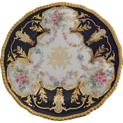 D & C Limoges France Delinieres Antique 9 inch Floral Plate Blue with Gold