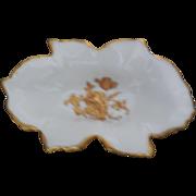 Antique Limoges Relish/ Olive Dish Gold Trim Roses Porcelain