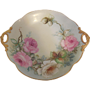 Limoges France Bowl Hand Painted Scalloped Doubled Handled, Artist Signed