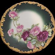 T V Limoges Cabinet Plate Gold Trim Artist Signed Raymond
