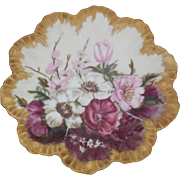 Alfred Lanternier Limoges France Hand Painted Floral Plate 8.25inches