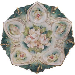 RS Prussia 4 footed Bowl Magnolia Blossom Design Mold 78 Excellent Condition
