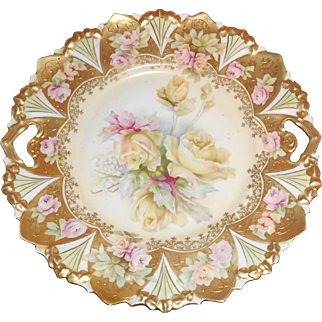 Antique RS Prussia Roses Reticulated Key Hole and Saw Tooth Cake Plate Signed