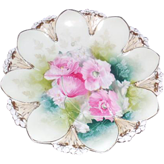 RS Prussia 8 .75 inch Shallow Dish, Pink Floral Design Victorian Shallow Bowl