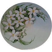 J.P.L. Limoges Porcelain Handpainted with Lovely White Flowers 8.5 inches