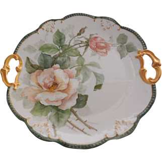Limoges France Hand Painted Peach Roses Double Handled Cake Plate